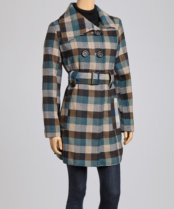 Khaki & Teal Plaid Peacoat