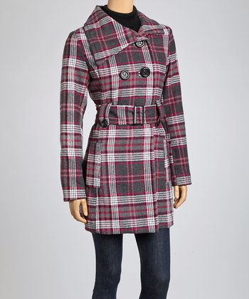 Charcoal & Fuchsia Plaid Peacoat
