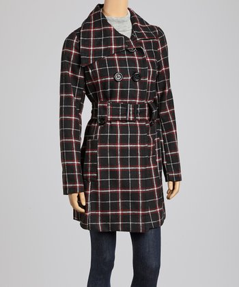 Black & Red Plaid Peacoat