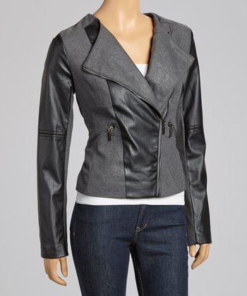 Charcoal Asymmetrical Zipper Moto Jacket