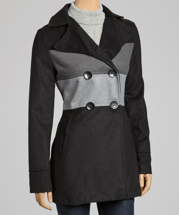 Black & Gray Stripe Peacoat