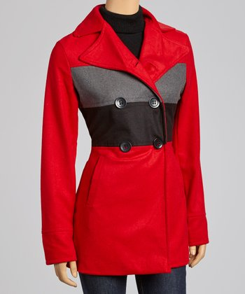 Red & Gray Stripe Peacoat