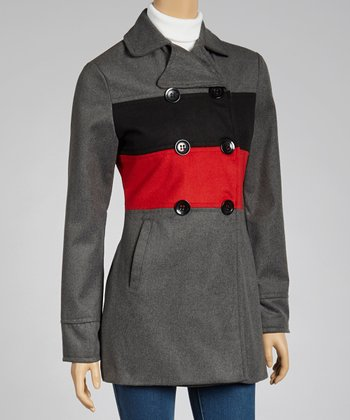 Gray & Red Stripe Peacoat