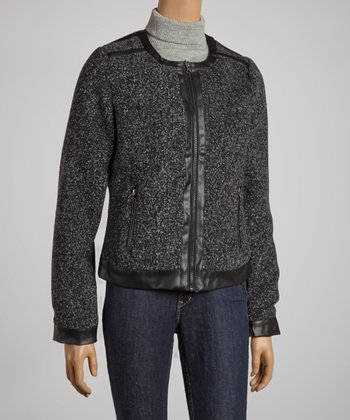 Black Textured Jacket - Women