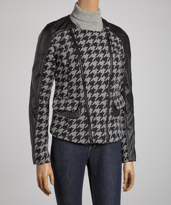 Gray Houndstooth Double Zipper Jacket