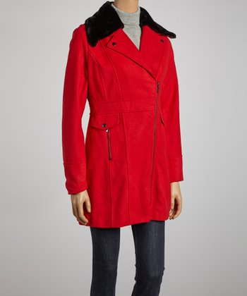 Red Hooded Zipper Jacket