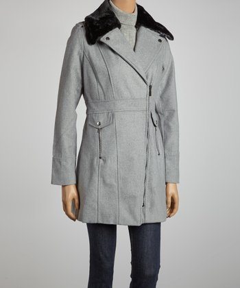 Heather Gray Hooded Zipper Jacket