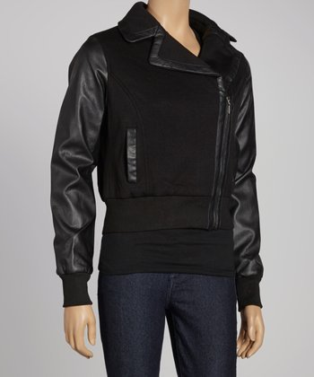 Black Asymmetrical Zipper Bomber Jacket