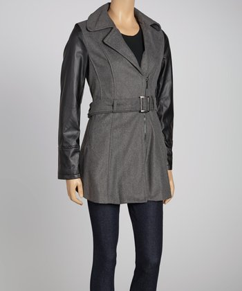 Charcoal Faux Leather Sleeve Jacket