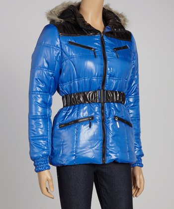 Blue & Black Puffer Jacket