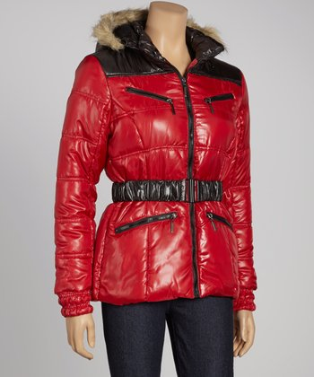 Red & Black Puffer Jacket