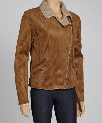 Brown Faux Fleece Asymmetrical Jacket