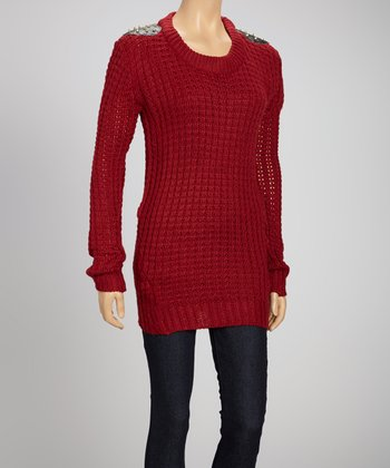 Red Studded Long-Sleeve Sweater