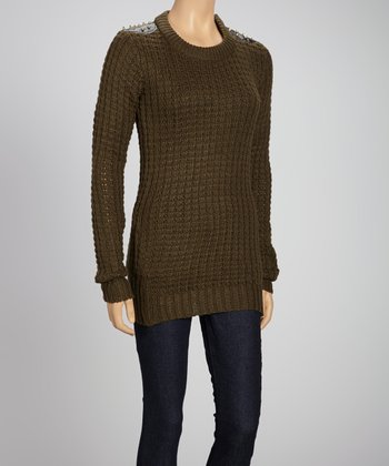 Olive Studded Long-Sleeve Sweater