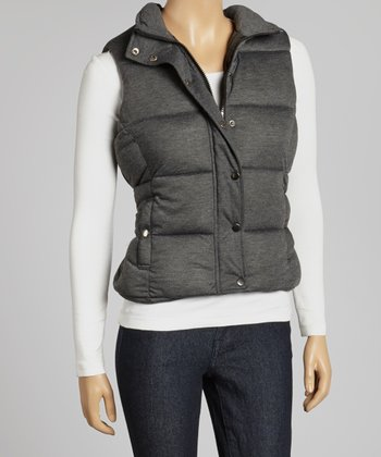 Black Button-Up Puffer Vest