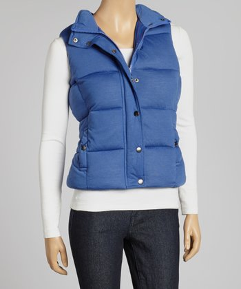 Blue Button-Up Puffer Vest