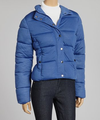 Royal Blue Button-Up Puffer Jacket