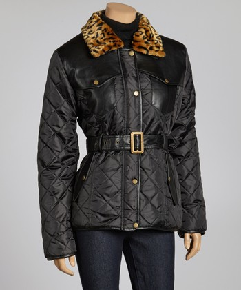 Black Cheetah Faux Fur Puffer Jacket