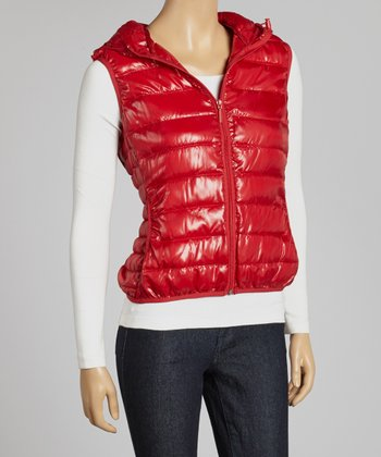 Red Zipper Puffer Vest