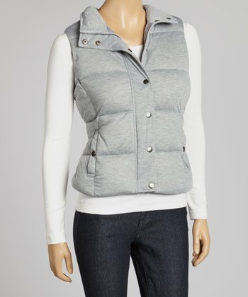 Grey Button-Up Puffer Vest