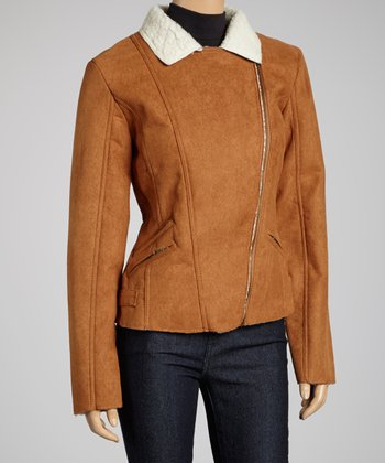 Light Brown Faux Fleece Asymmetrical Jacket