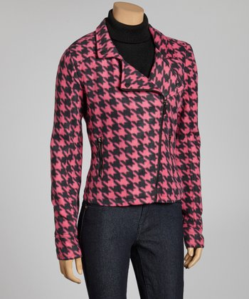 Fuchsia & Black Houndstooth Asymmetrical Jacket