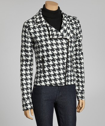 White & Black Houndstooth Asymmetrical Jacket - Women