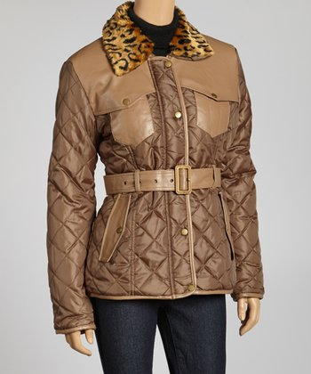 Light Brown Cheetah Faux Fur Puffer Jacket