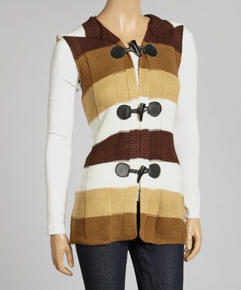 Brown & White Stripe Hooded Vest