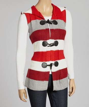 Red & White Stripe Hooded Vest