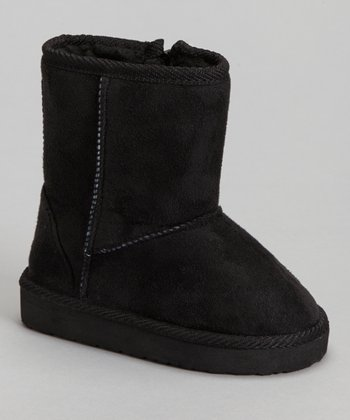 Black Furry Boot - Kids