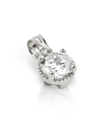 Sterling Silver Round Simulated Diamond Pendant Necklace