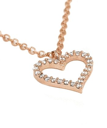 Rose Gold Heart Cutout Simulated Diamond Pendant Necklace