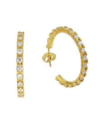 Gold Simulated Diamond Hoop Earrings