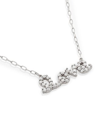 Sterling Silver 'Love' Simulated Diamond Necklace