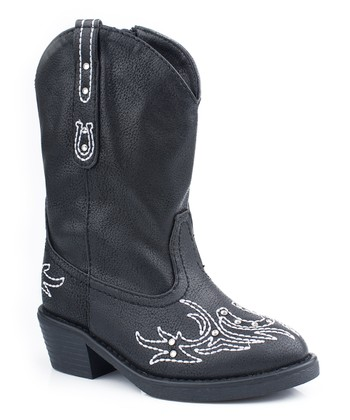 Black Western Stitch Cowboy Boot - Kids