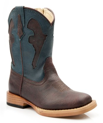 Brown & Turquoise Pistol Cowboy Boot
