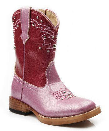 Red & Pink Stud Cowboy Boot