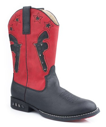 Black & Red Western Light-Up Cowboy Boot