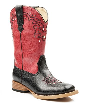 Red & Black Studded Cowboy Boot - Kids