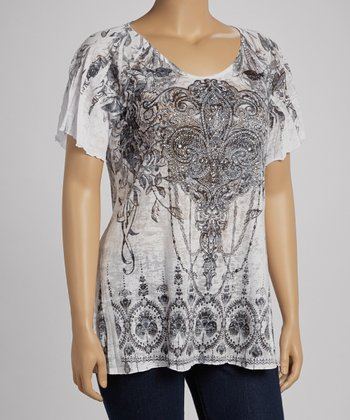 White Fleur-de-Lis Sublimation Burnout Short-Sleeve Top - Plus