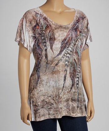 Mocha Peacock Sublimation Burnout Short-Sleeve Top - Plus