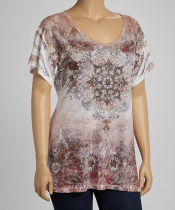 Brown Arabesque Sublimation Burnout Short-Sleeve Top - Plus