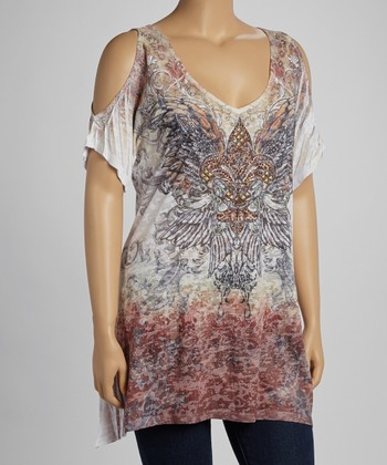 Brown Fleur-de-Lis & Wings Sublimation Burnout Top - Plus