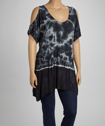 Midnight Crystal Tie-Dye Cutout Top - Plus