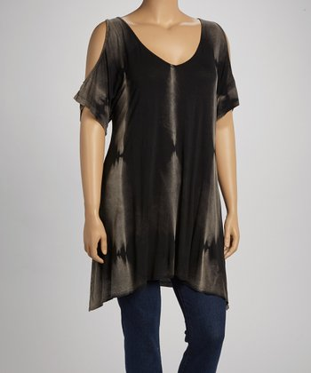 Black Maho Mineral Wash Cutout Top - Plus