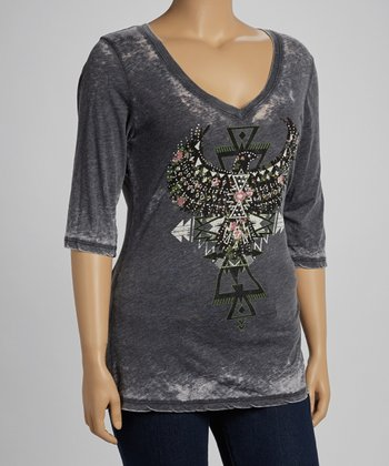 Charcoal Tribal Graphic Burnout Top - Plus