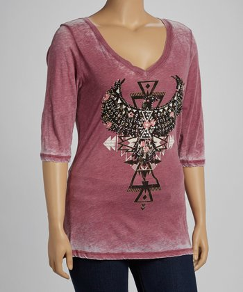 Cherry Tribal Graphic Burnout Top - Plus
