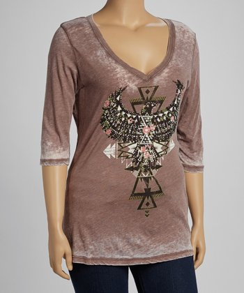 Mocha Tribal Graphic Burnout Top - Plus