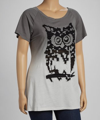 Charcoal Ombre Owl Short-Sleeve Top - Plus